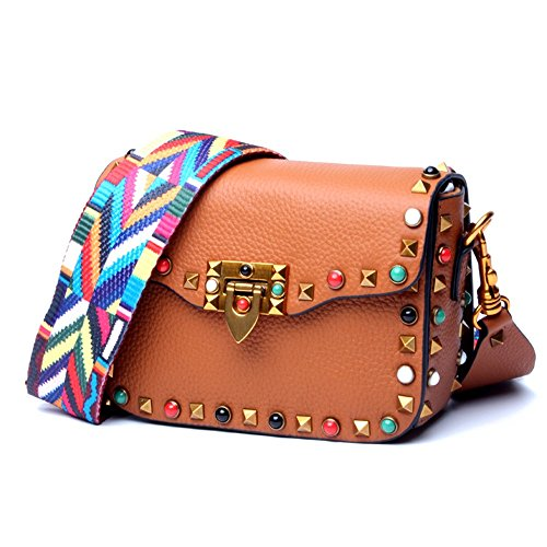Handbag Bag Party color Brown Color Red Layer Rivet Women's Messenger Shoulder Small Strap Xuanbao Wide Header Leather vaHx5nw