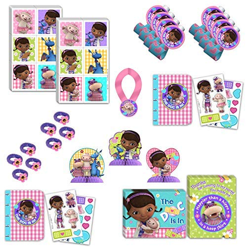 Doc Mcstuffins Birthday Party Favors Bundle - 8 Guests- Party Kit Includes Centerpieces, Hairbands, Blowouts,Stickers, Activity Books, Medal For Guest of Honor, Invites/Thank you Cards
