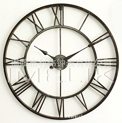 AYYA wall clock Creative Simple craft European Mediterranean living room study wrought iron, black
