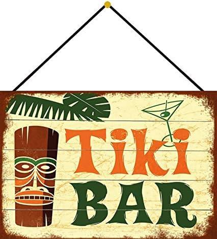 Cadeau Vintage Generisch Plaque en t/ôle incurv/ée avec Cordon Tiki Bar Hawaii Cocktails Music Live