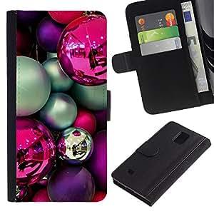 KingStore / Leather Etui en cuir / Samsung Galaxy Note 4 IV / Bulbos púrpura decoraciones rosadas del trullo