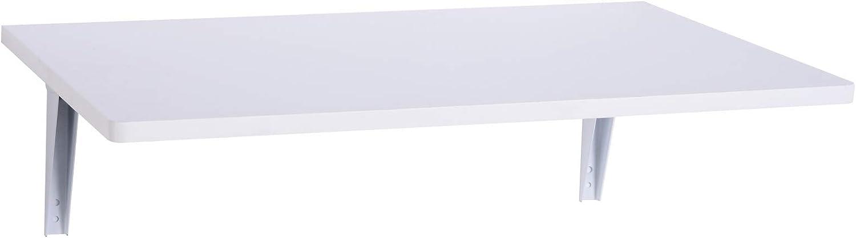 HOMCOM Mesa Plegable de Pared para Cocina y Comedor 60x40x1,5cm Mesa Auxiliar Color Blanco