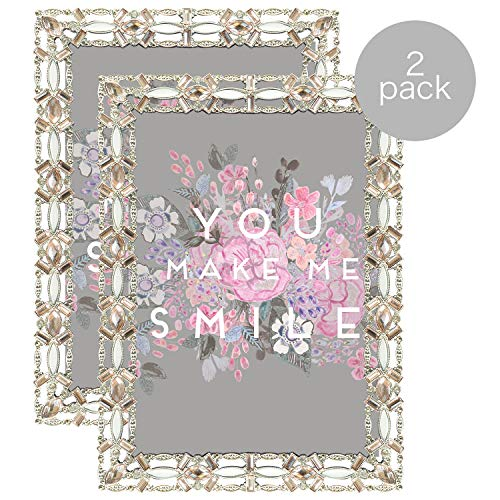 Parisian Home Ornate Jeweled Decorative Metal Picture Frame for 5