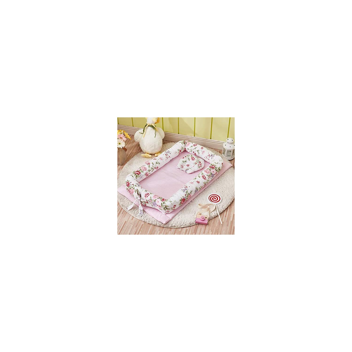 Abreeze Baby Bassinet for Bed -2PC Rose Pink Baby Lounger Including Pillow- Breathable & Hypoallergenic Co-Sleeping Baby Bed – 100% Cotton Portable Crib for Bedroom/Travel 0-24 Months
