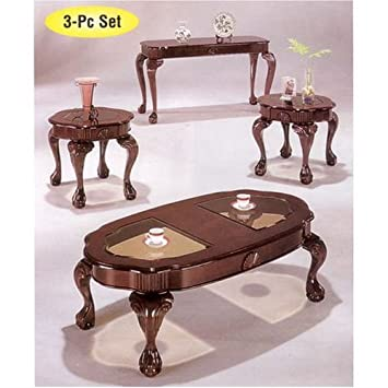 amazon com 3pc coffee table end table set cherry finish kitchen
