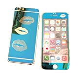 Dreams Mall(TM)Top Fashion Electroplating Mirror Effect with Lips Tempered Glass Screen Protector Film Decal Skin Sticker Front & Back for Apple iPhone 6 Plus/6S Plus 5.5 inch-Blue