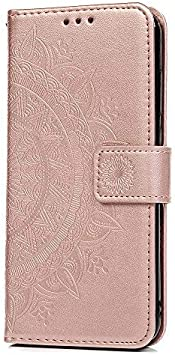 Funda Xiaomi Redmi 5 Plus, Carcasa Libro Piel de Cuero con Tapa Flip Case, Cover PU Leather Con TPU Case Interna Suave, Soporte Plegable, Ranuras para Tarjetas y Billetera Atrapasueños Color Oro rosa