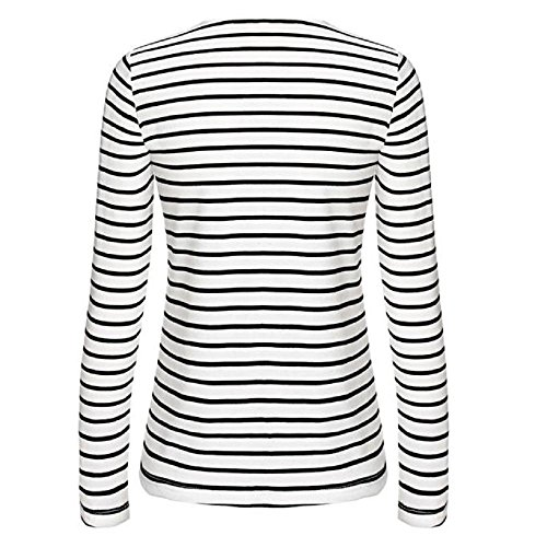 Casual Tops de chemisier Long Sleeve Covermason raie Shirt Blanc T Femmes xRYBXwA