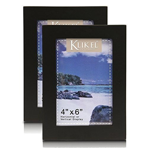 Klikel 4 X 6 Black Wooden Picture Frame - Black Wooden Wall Hanging And Table Standing Photo Frame, Set of 2 (Table Photo Frame Set)