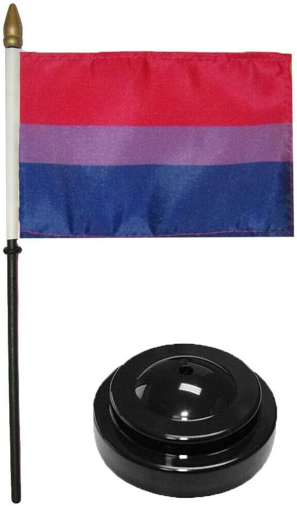 MWS Bisexual Bi Pride 4x6 Flag Desk Wood Table Stick Staff Black Base
