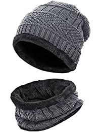 Men Beanie Hat Scarf Set Winter Warm Knit Hat and Infinity Scarf Gift Set