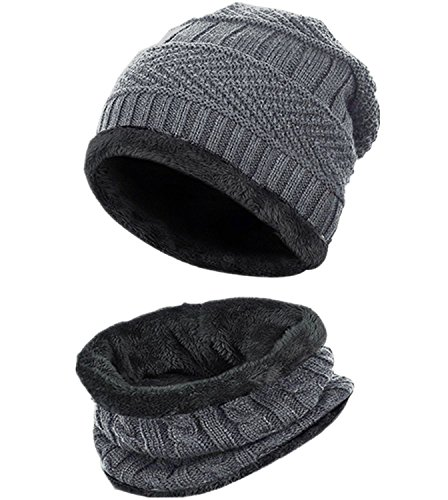 Loritta Men Beanie Hat Scarf Set Winter Warm Knit Hat and Infinity Scarf Gift Set
