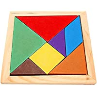 ZHUOTOP Wooden Rainbow Color Tangram DIY Wood Puzzle Kid Educational Toy