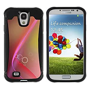 "Pulsar iFace Series Tpu silicona Carcasa Funda Case para Samsung Galaxy S4 IV I9500 , Líneas rosadas Brown Anillos Amarillo"""