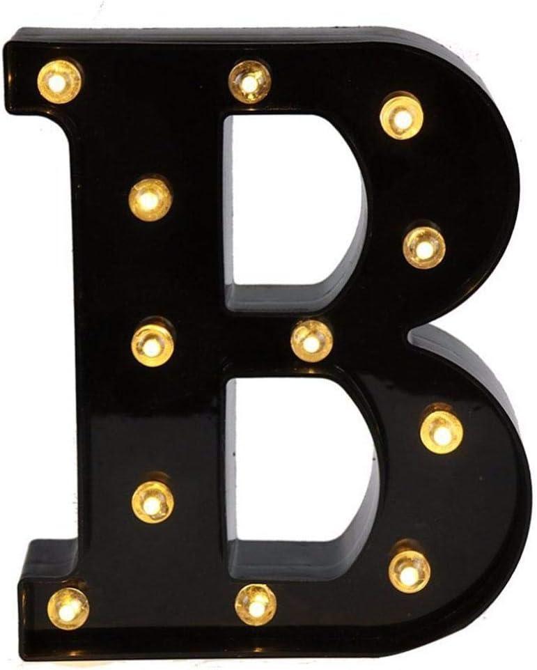 F/ête dAnniversaire Doitsa 1x Lumi/ère LED Noire Alphabet Lettres Sign Op/érateur /à Piles LED Lights D/écoration pour R/éceptions de Mariage Partie Bar Maison de Vacances