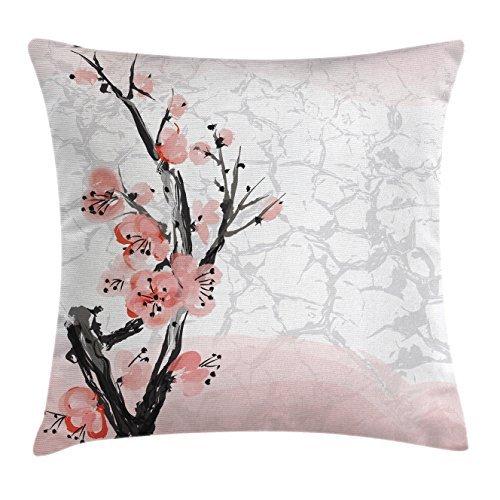CAROLJU Funda de cojín floral, diseño de flor de cerezo ...