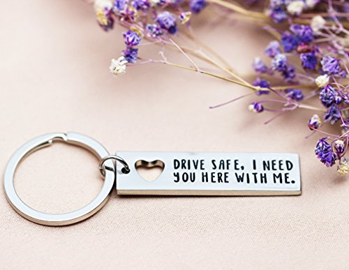 Ms.Clover Trucker Husband Keychain, Drive Safe I Need You Here With Me Hand Stamped Drive Safe Gift Gift for Dad. by Ms.Clover (Image #2)