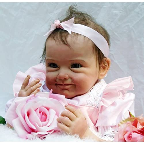 NPK 22 inch Silicone Lifelike Reborn Baby Girl Doll with Magnetic Dummy 55 cm Newborn Baby Dolls