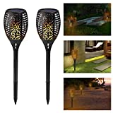 cjc Solar Path Torches Lights Dancing Flame Lighting 96 LED Dusk to Dawn Auto On/Off Flickering Tiki Torches for Patio Deck Yard Wedding Outdoor Party