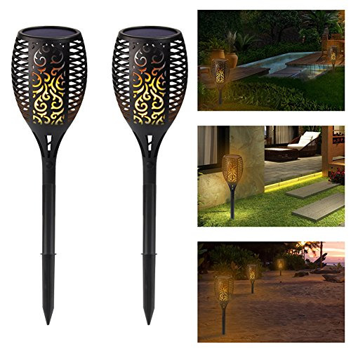 Premium Quality Solar Path Torches Lights Dancing Flame Lighting 96 LED Dusk to Dawn Auto On/Off Flickering Tiki Torches for Patio Deck Yard Wedding Outdoor Party (Antique Tree Lamp Base)