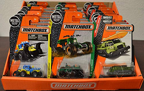 Matchbox MBX Bundle a Collection of 24 Assorted 1:64 Scale Collectible Die Cast Model Cars in a Display Case