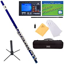 Mendini Closed-Hole Key of C Flute, Blue Lacquered and Tuner, Case, Stand, Pocketbook- MFE-BL+SD+PB+92D