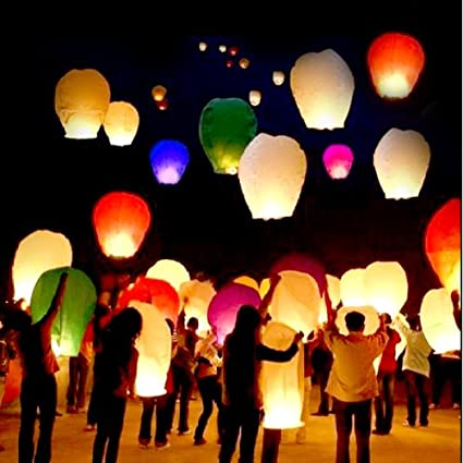 Amazon.com: 10 PCS Sky Lanterns Paper Lanterns Chinese Wishing ...