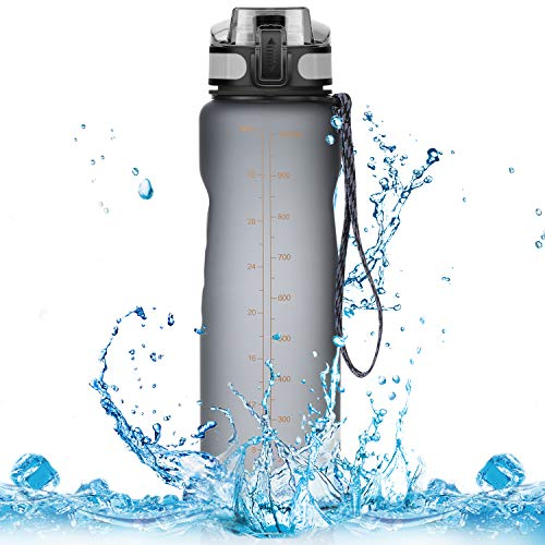 Homiguar Sports Water Bottle, Large Water Bottle, Flip Top with Locking Lid, Leak Proof, BPA Free, 36-Ounce - Grey ()
