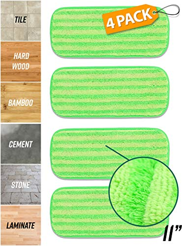 Microfiber Mop Pads Refill Pack - 4x Reusable Washable Mop Head Replacements Best Thick MF Spray Wet Dust Dry Flat Velcro Attachment 12 | 18 Inch - Fits Bona, Bruce, Rubbermaid, Libman, Zflow + More