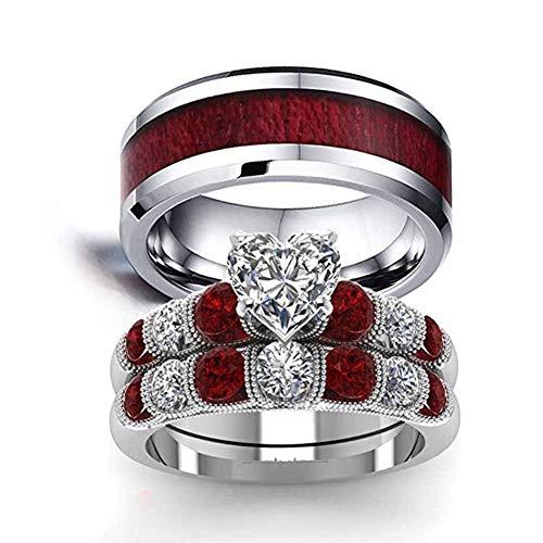 White Gold Band Celtic Bridal (SAINTHERO His and Hers Wedding Ring Sets Couples 18K White Gold Engagement Ring Bridal Sets Retro Wood Grain Band)