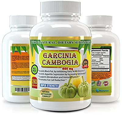 Garcinia Cambogia Pure Extract 1600mg - 180 Veggie Capsules - Premium Quality - 60% More Strength Than Regular 1000mg Products - Best Value on Market - Weight Loss Quick with Max Fat Burner.