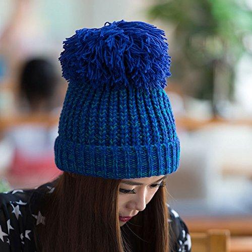 de Gray Invierno Espina Punto Bola BLUE Curl Grueso Grande Tapa señoras Lana Maozi otoño de Pescado de 0zZ11v