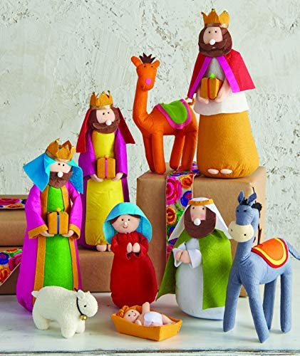 Large Fabric Christmas Nativity Set, 9 Pieces, 15.5 Inch Tall by Betsey Cavallo