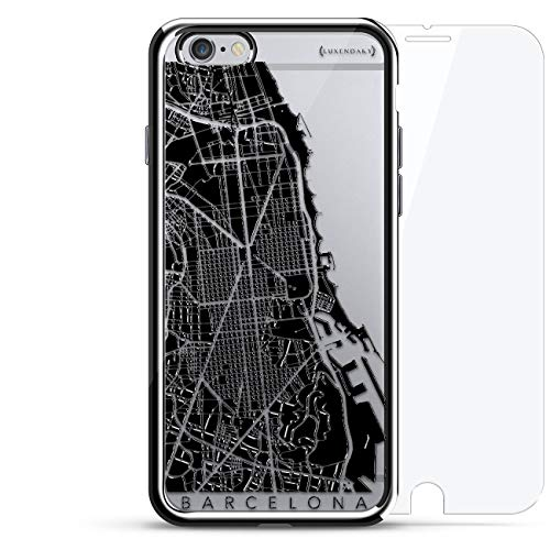Barcelona Streets Map  | Luxendary Chrome Series 360 Bundle: designer case + tempered glass for iPhone 6/6s in Silver ()
