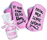 """Funny Wine Socks VINOVITA """"If You Can Read This, Bring Me Some Wine'' Hilarious Novelty Fuzzy Socks For Women & Girls, Soft Warm Fluffy Comfortable Anti-Slip - For Birthdays, Anniversary and more"""