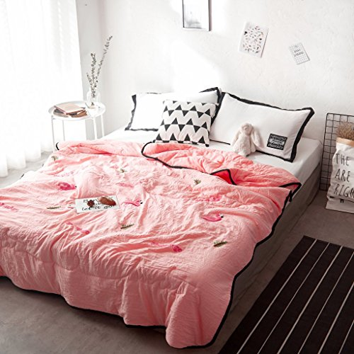 BeddingHome Ultra Lightweight Cotton Summer Flamingos Comforter Extraordinary Lightweight Cotton Throw Blanket