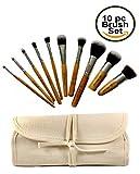 Eco Bamboo Kabuki Makeup Brush Tool Set - 10 Piece Cosmetic Brush Kit in Travel Organizer Bag - Ideal Gift