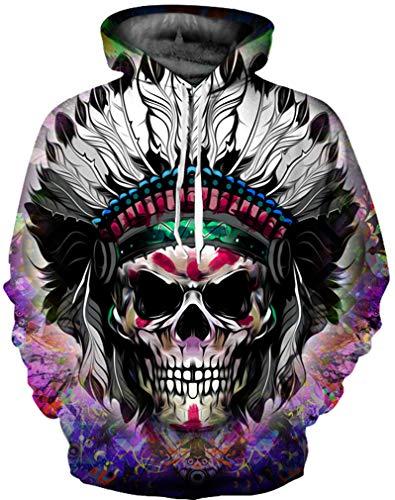 Ocean Lupo Colorato Indiano Con Maglione Hoodie Uomo Cranio Plus Teschio Cappuccio Felpa Sweatshirt 3d CzBCrnvHx