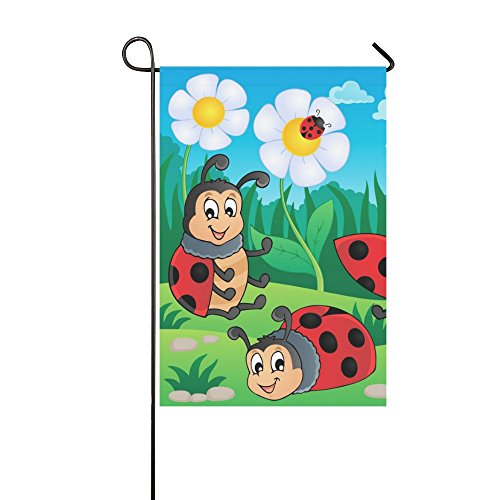 Flag Banner Ladybugs (Fantasy Design Ladybug Polyester Garden Flag Banner 12 x 18 Inch,Decorative Flag for Wedding Party Yard Home Outdoor Decor)