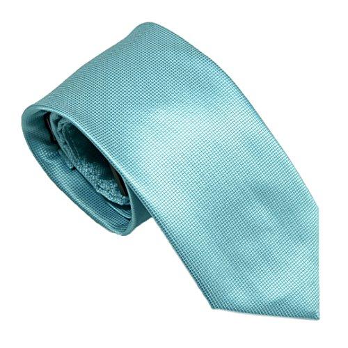 Seafoam Blue Solid Pique/Pindot Woven Designer Tie Matching Pocket Square 100% Silk Hand Made Luciano Ferretti-Antonia Collection
