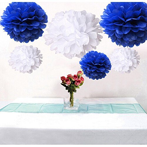 WOM-HOPE® 15 Pack - 10 Inches Tissue Paper Pom Pom Flower Ball Pom-poms - Wedding Party Supplies Decorations Birthday Parties and Baby Showers Party Decorations Party Tissue Pom Poms (Dark Blue)