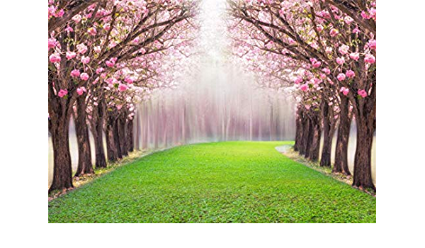 10x6.5ft Beautiful Blossoming Trees Yellow Flowers Backdrop Spring Park Scenery Polyester Photography Background Grassland Wooden Fence Children Adults Artistic Portraits Wedding Photo Wallpaper