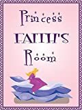 Princess FAITH room pink design 9''x12'' plastic novelty girls room décor sign