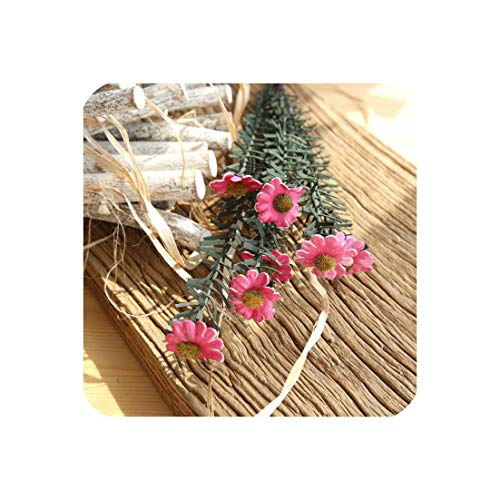(Artificial Fake Flower Small Daisies Bouquet Home Living Room Wedding Party Decoration,Rose Red)