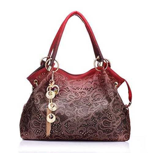 Borse Da Donna Scava Fuori Ombre Floral Stampa Spalla Crossbody Borse Ladies Pu Leather Totes Moda Messenger Bag Femminile Red red