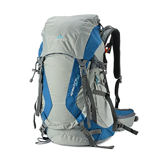 Tofine External Frame Backpack Waterproof Backpacking with Rain Cover Gear  Blue 32 Liter Mountaineering Bag cc9de07cff2a3