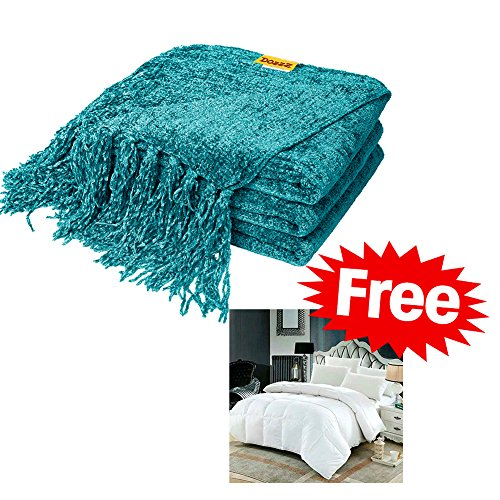 Decorative Chenille Thick Couch Throw Blanket with Fringe (TEAL) - Large 60 x 50 Inches Soft Cloth Cover, Keeps You Feel Warm & Comfy in any Season - Great for Couch, Sofa&Bed Furniture at Home (Chenille Teal)