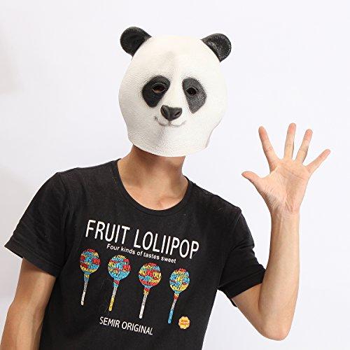 [SICA Panda Head Mask Creepy Animal Halloween Costume Theater Prop Latex Party Toy] (Creepy Mlp Costume)