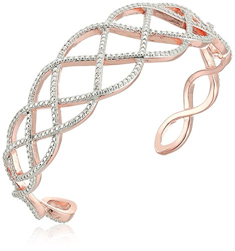 Rose Gold and Rhodium Plated Sterling Silver Diamond Accent Cuff Bracelet, 6.5