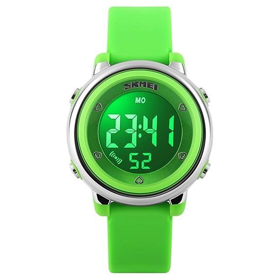 Amazon.com: FEIWEN Fashion Simple Digital Sports Watch for Boy Girl, 50M Waterproof Outdoor Multifunction Stopwatch Alarm Military 7 Multicolor LED ...